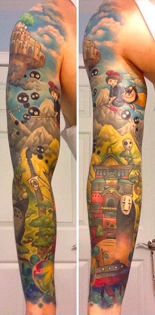 studio-ghibli-full-sleeve-tattoo-3