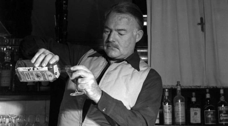 hemingway pouring drink