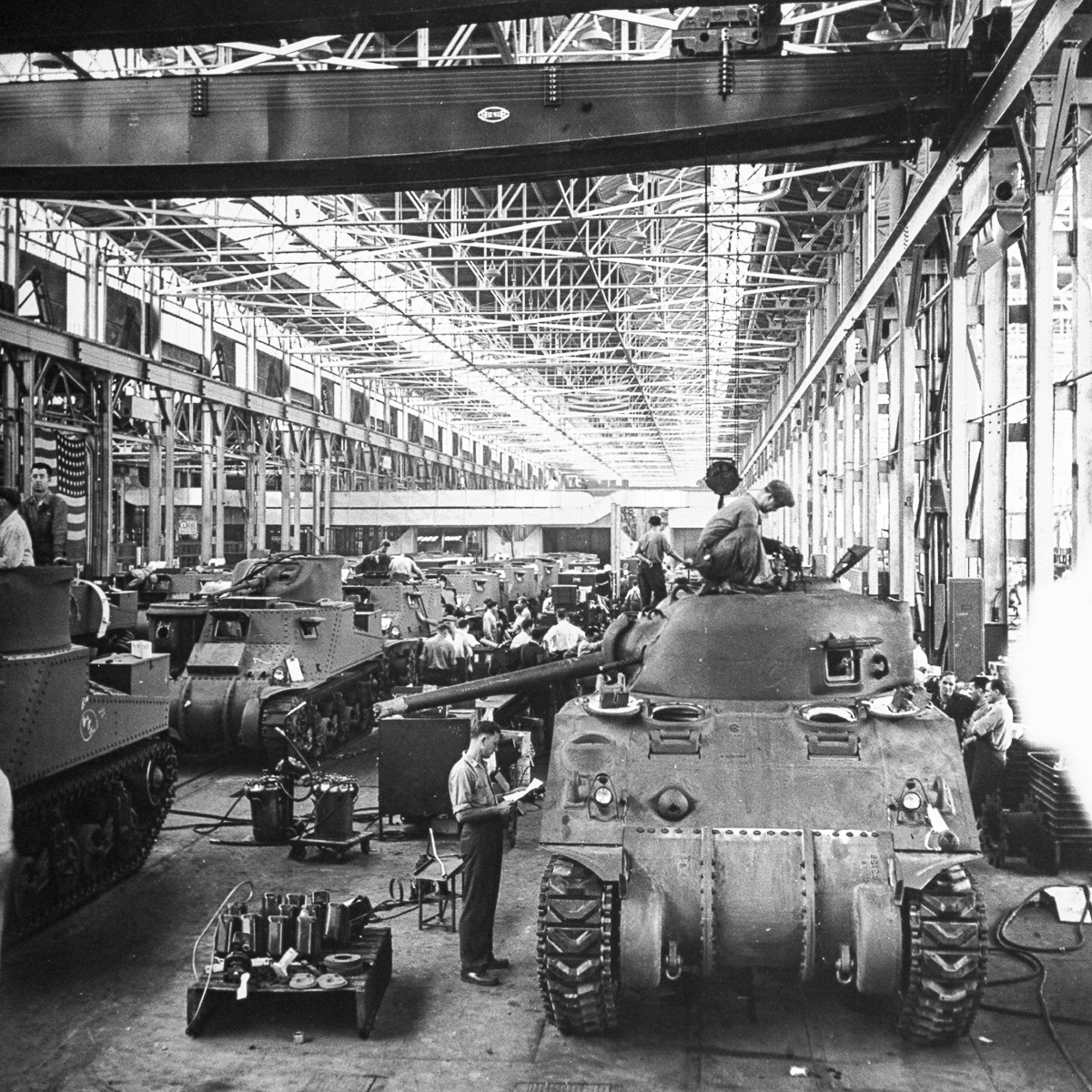The assembly line at the Chrysler tank arsenal cha
