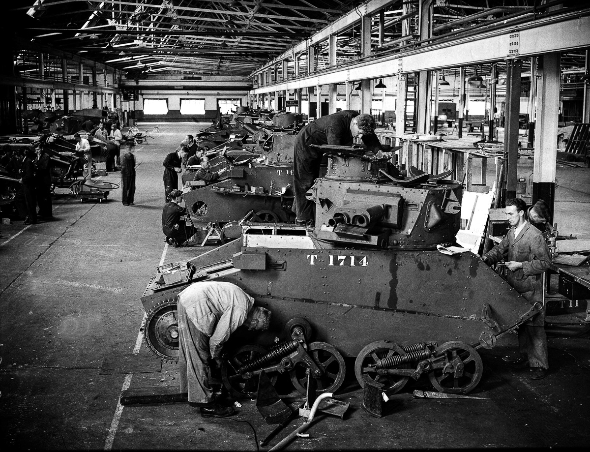 August 18th 1940, British tanks on an assembly line some having brought back from Dunkirk for repair