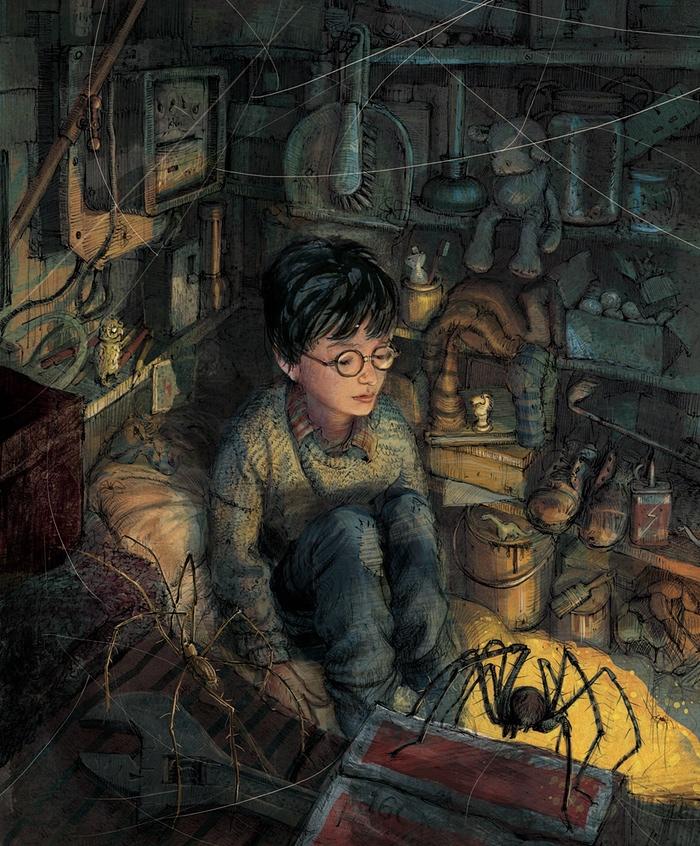 Qui Harry Potter nel sottoscala, ancora ignaro delle avventure che lo attendono
