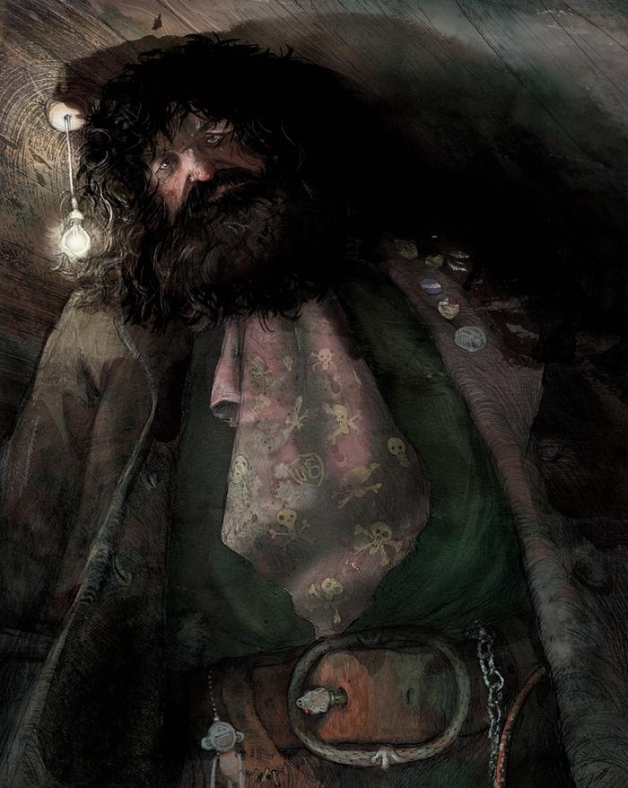 Il primo personaggio che Jim Kay ha illustrato nel suo libro è Hagrid. Per le sue illustrazioni ha usato diverse tecniche miste tra loro, tra cui il carboncino, la matita, pastelli a cera, vernice, pittura a olio e acrilici.