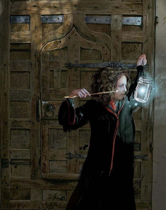 Qui è illustrata Hermione col fuoco azzurro. La porta dietro ha una serie di incisioni in cui figurano il nome di Tom Riddle, JKR e Lupin.