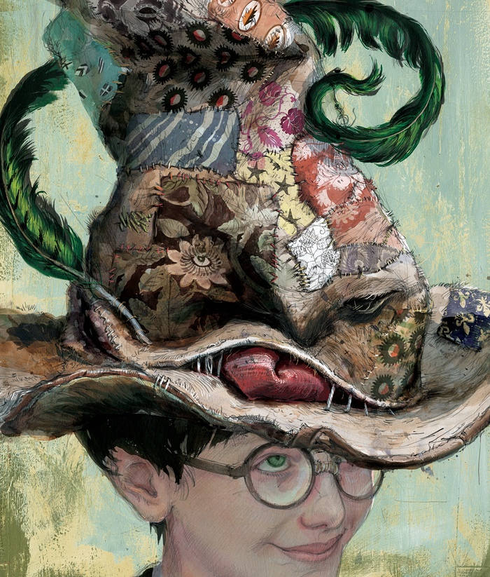 Decisamente un cappello illustrato diversamente rispetto a quello figurato nel film. Nelle sue illustrazioni Kay è stato ispirato da persone reali che incontrava nella metro a Londra.