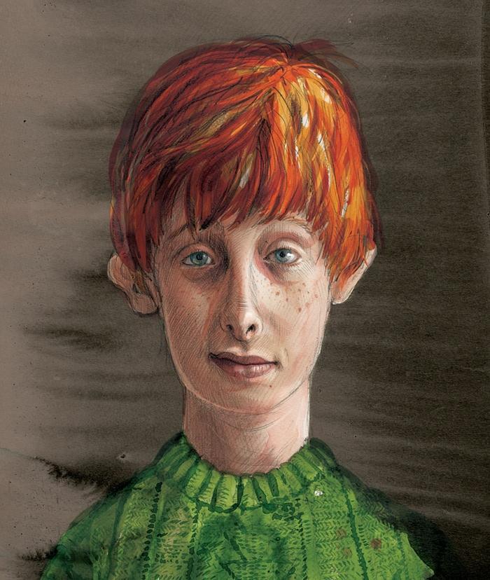 Questo invece è Ron Weasley. Il suo personaggio è stato ispirato dal figlio di un bibliotecario scolastico che Kay conosce di persona.