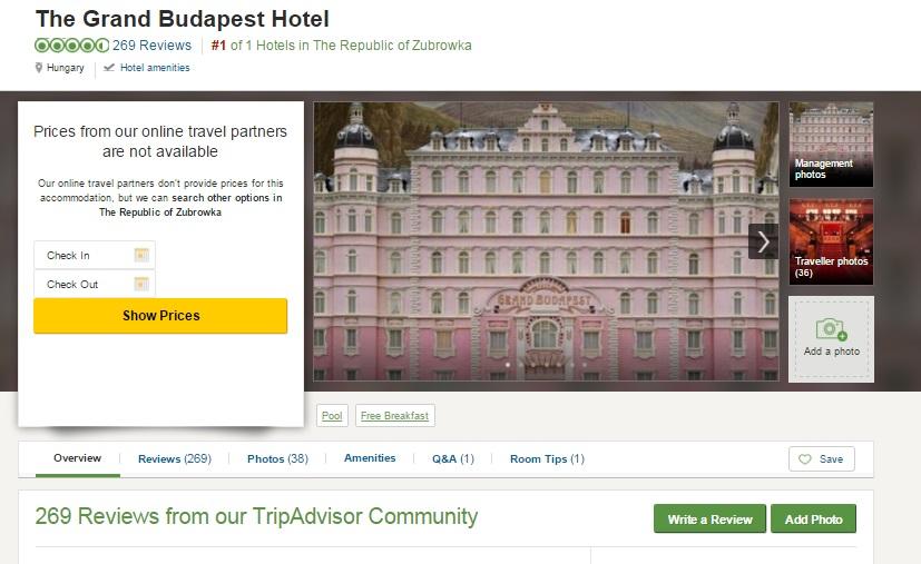 Potete recensire The Grand Budapest Hotel su Tripadvisor  Darlin Magazine