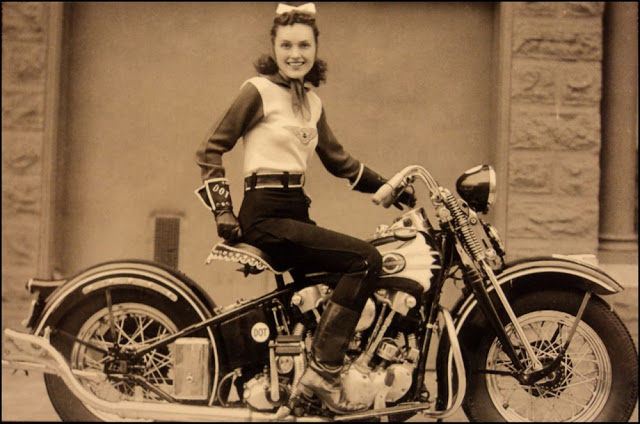 Vintage Young Girls Riding on Motorbikes (1)