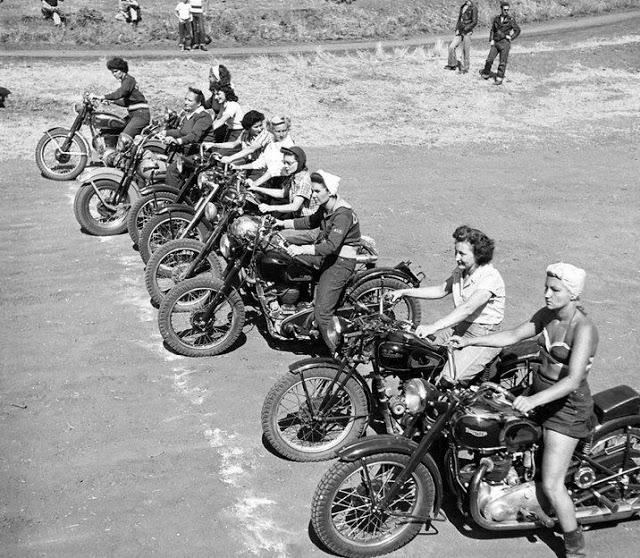 Vintage Young Girls Riding on Motorbikes (18)
