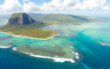 Aerial view of Le Morne Brabant mountain which  is in the World Heritage site of the UNESCO