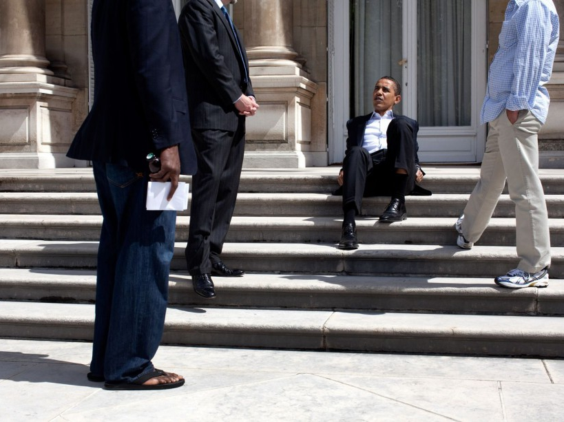 President Barack Obama sits on the steps of the U.S. Ambassador's residence in Paris before returning to Washington, June 7, 2009. (Official White House photo by Pete Souza) This official White House photograph is being made available for publication by news organizations and/or for personal use printing by the subject(s) of the photograph. The photograph may not be manipulated in any way or used in materials, advertisements, products, or promotions that in any way suggest approval or endorsement of the President, the First Family, or the White House.