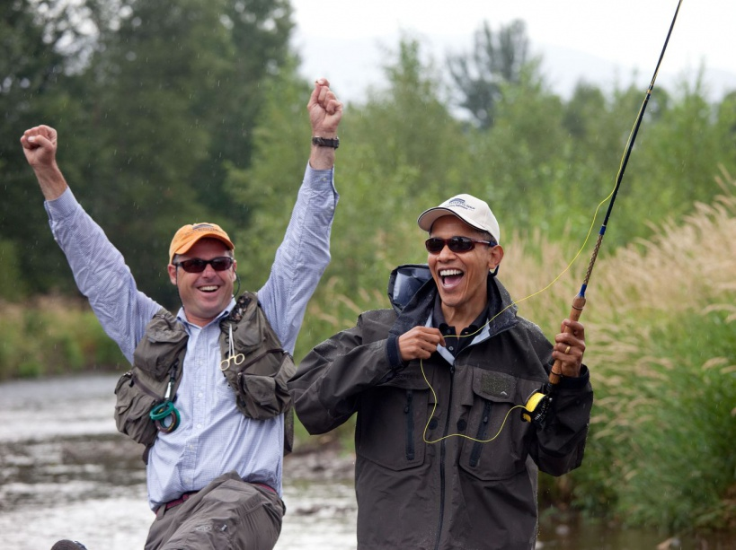 Local fishing guide Dan Vermillion reacts as President Barack Obama hooks a trout on the East Gallatin River near Belgrade, Mont., August 14, 2009. The President hooked about 6 fish, but did not land any during his first fly fishing outing. (Official White House photo by Pete Souza) This official White House photograph is being made available only for publication by news organizations and/or for personal use printing by the subject(s) of the photograph. The photograph may not be manipulated in any way and may not be used in commercial or political materials, advertisements, emails, products, promotions that in any way suggests approval or endorsement of the President, the First Family, or the White House.