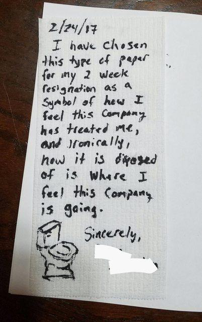 lettera di dimissioni carta igenica