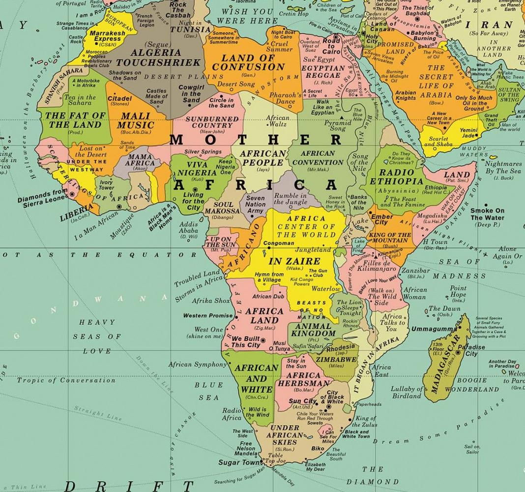 La mappa del mondo coi titoli delle canzoni al posto di - Mappa del mondo contorno ks2 ...