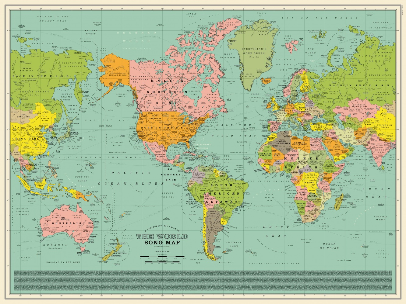 Cartina Mondo Paesi.La Mappa Del Mondo Coi Titoli Delle Canzoni Al Posto Di Nazioni E Citta Darlin Magazine